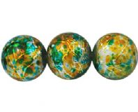 50+Drawbench Glass Beads Spray Painted, Round, Turquoise/Golden 8mm